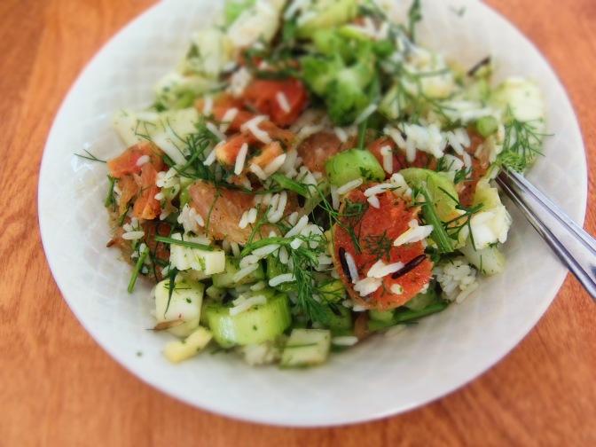 Salade de riz fenouil et agrumes sauce citron safran