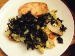 roti patate kale legume avec escalope de sans poulet Gardein