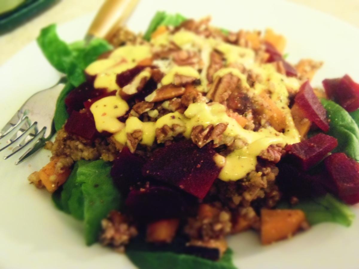 Salade repas sarrasin amarante sauce mangue curcuma et for Repas sans cuisiner