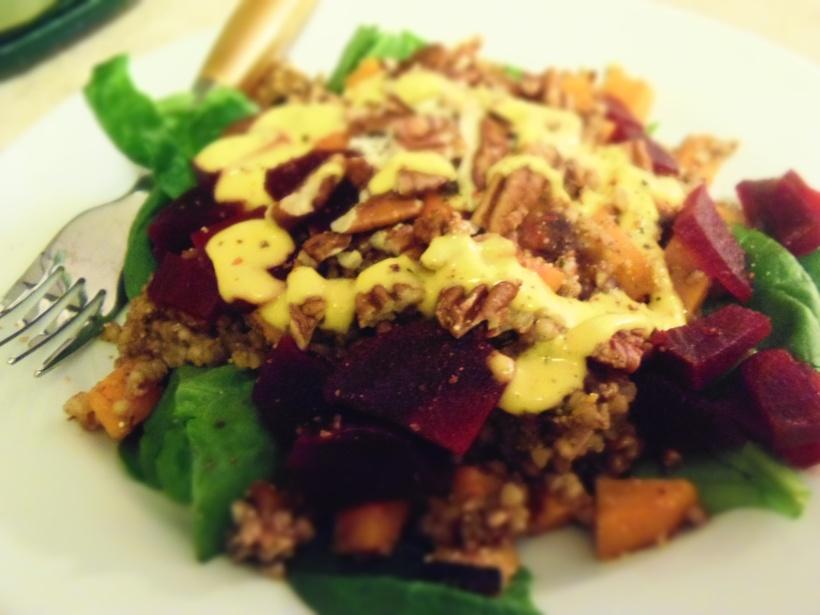 salade tiede sarrasin amarante mangue curcuma