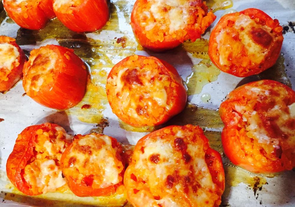 tomates farcies au four lentilles et fromage
